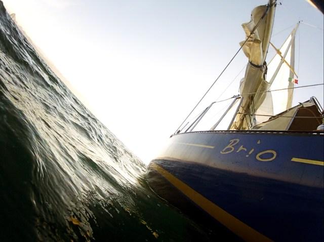Beautiful sailing on Brio - with Barra de Navidad reflected in the hull