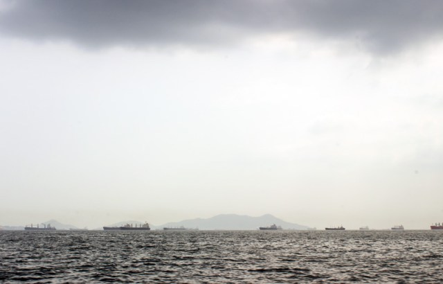 Ships at anchor waiting to transit the Panama Canal