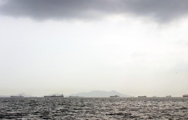 Ships at anchor waiting to transit the Panama Canal