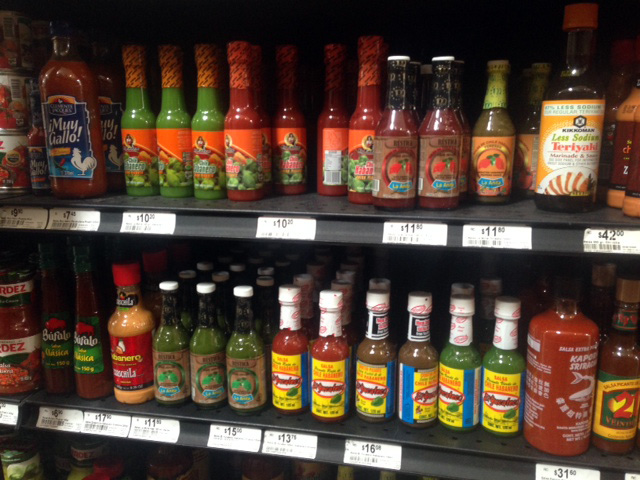 Technically this is the hot sauce aisle, but you get the point.