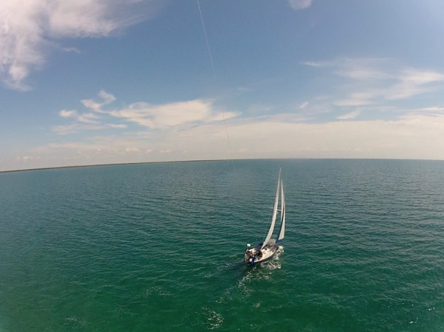 Flying a GoPro further out on a kite on a sailboat - Florida Key cruising - KAP on a sailboat