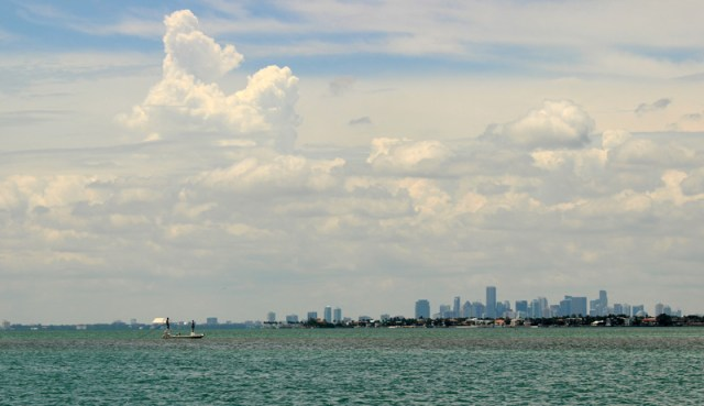 First glimpse of Miami from the water