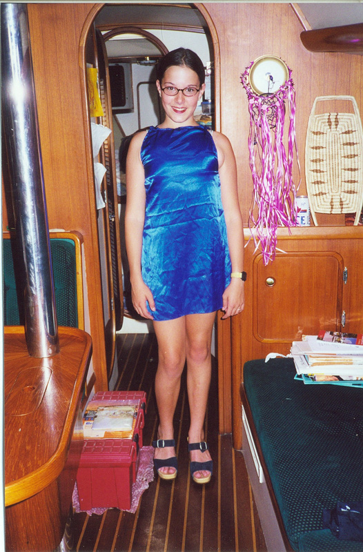 Living on a boat -- and making my own clothing haha -- age 12