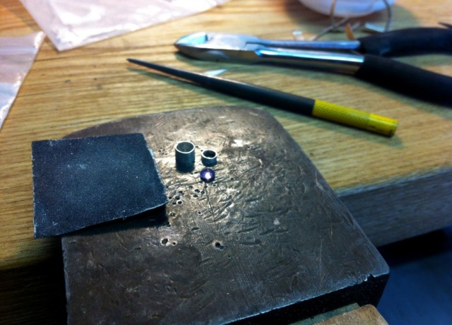 """Metalsmithing - This is the """"sapphire"""" I melted (was apparently glass)"""