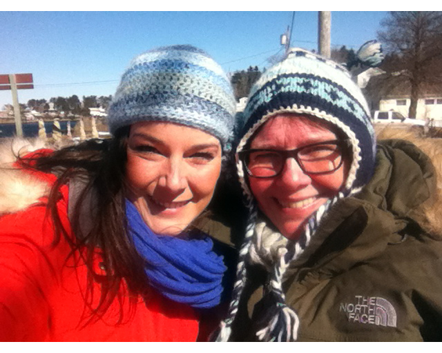 Mom visits in March - cold!