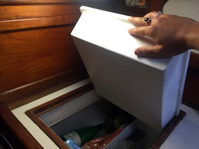 New fridge lid repair on sailboat refrigeration