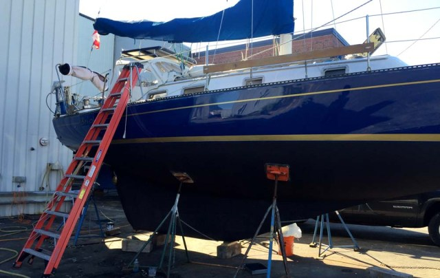 Waxed and polished sailboat hull