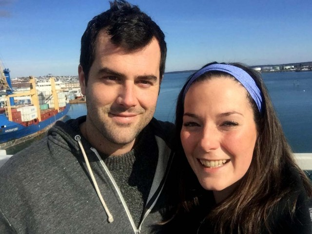 Jon and Leah on the Casco Bay Bridge