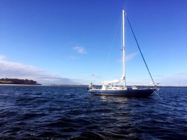 Brio at anchor at Richmond Island
