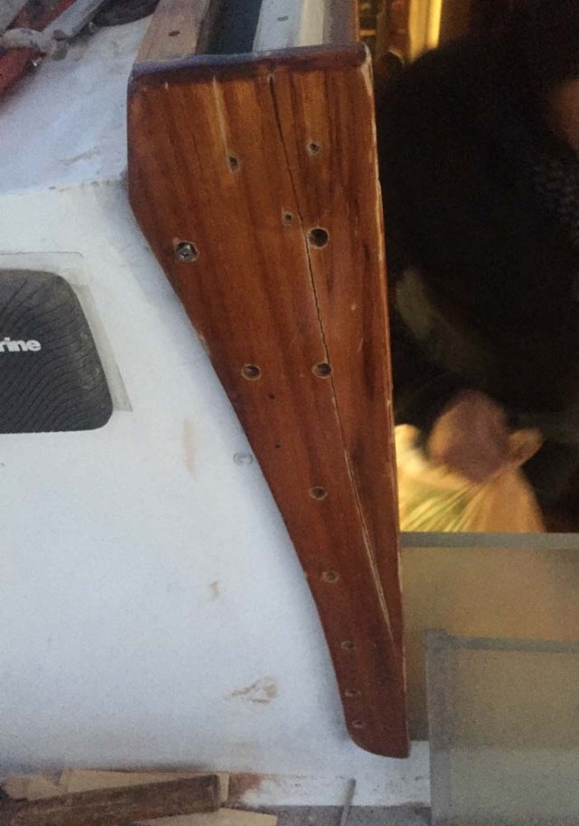 Replacing the companionway board holder to be more rugged