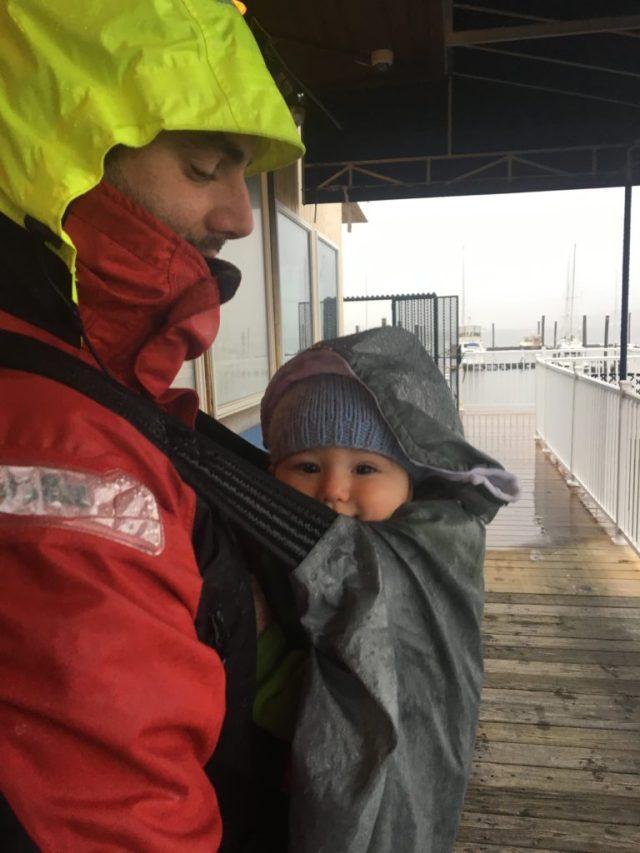 Pouring rain at Capri Marina in Port Washington, NY - thank god for the rain cover on the Onya!