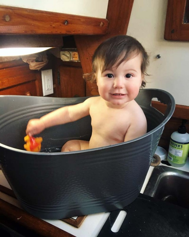 Boat baby in a tub - 10 months old