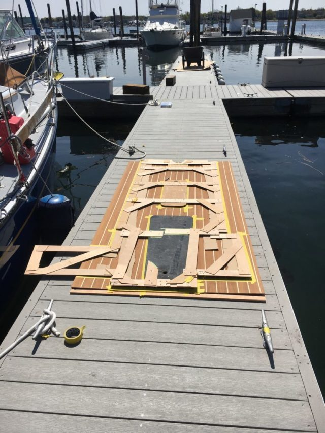 Patterning the teak and holly cabinsole replacement sailboat project