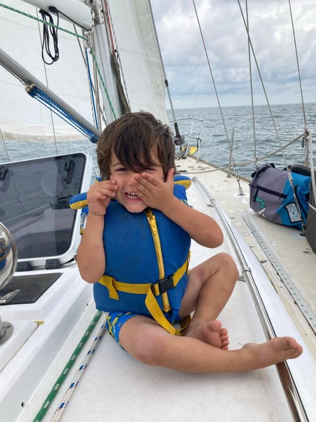 Zephyr sailing on our Sabre 42 sailboat - boat-kid life!