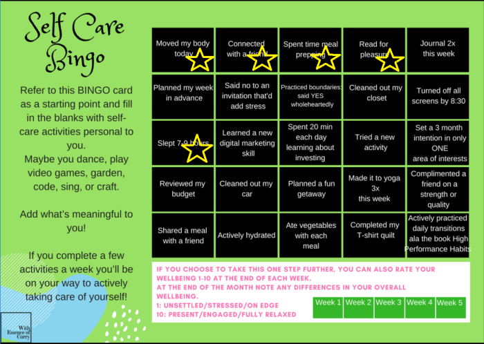 Personal Self Care Bingo