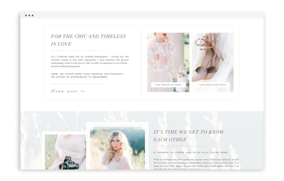Carrie McGuire Photography - Custom Brand and Showit Web Design Website by With Grace and Gold - 4