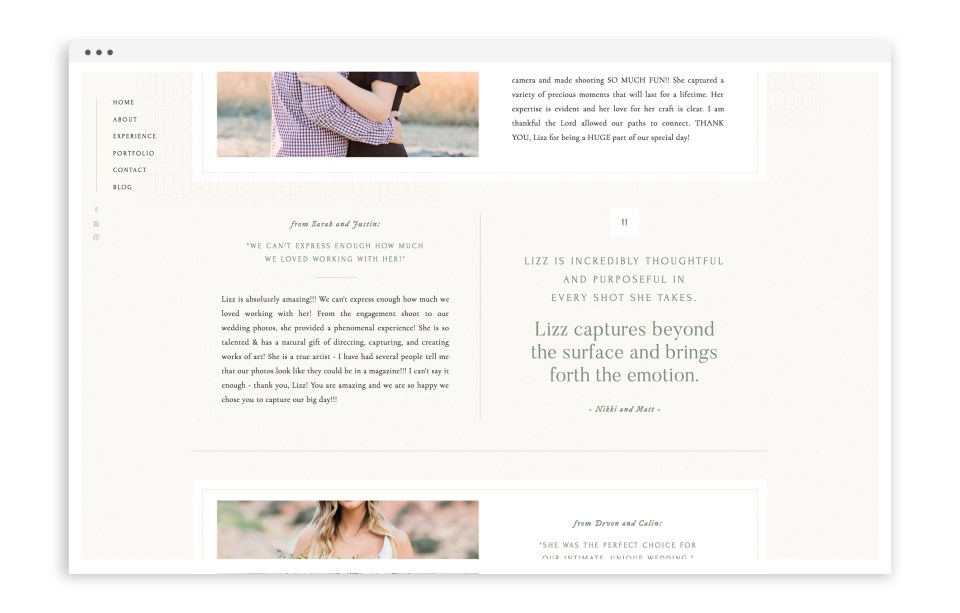 Elizabeth M Photography - With Grace and Gold - Logo Design, Stationery Design, and Web Design for Creative Women in Business