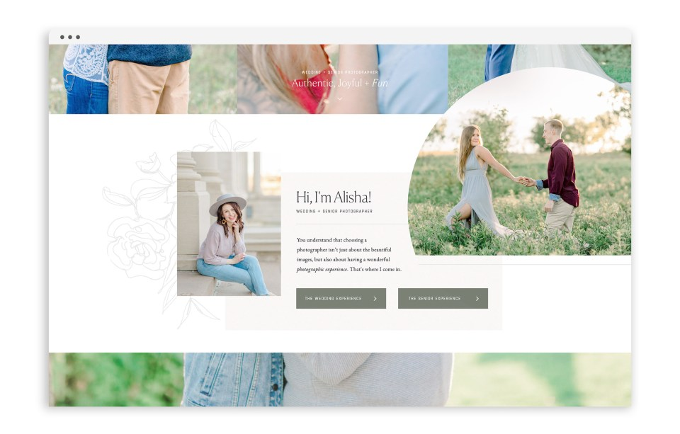 Custom Brand Logo and Showit Web Website Design Designs for Alisha Marie Photography by With Grace and Gold - Best Showit Designer - Photo3