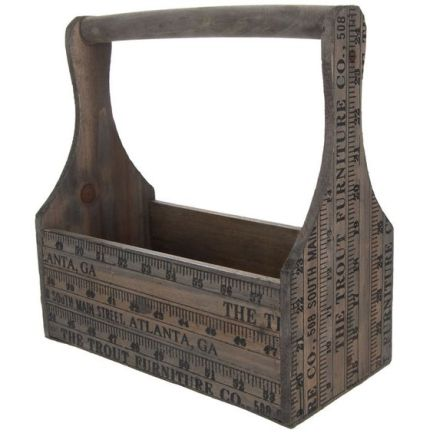 yardstick print wood caddy