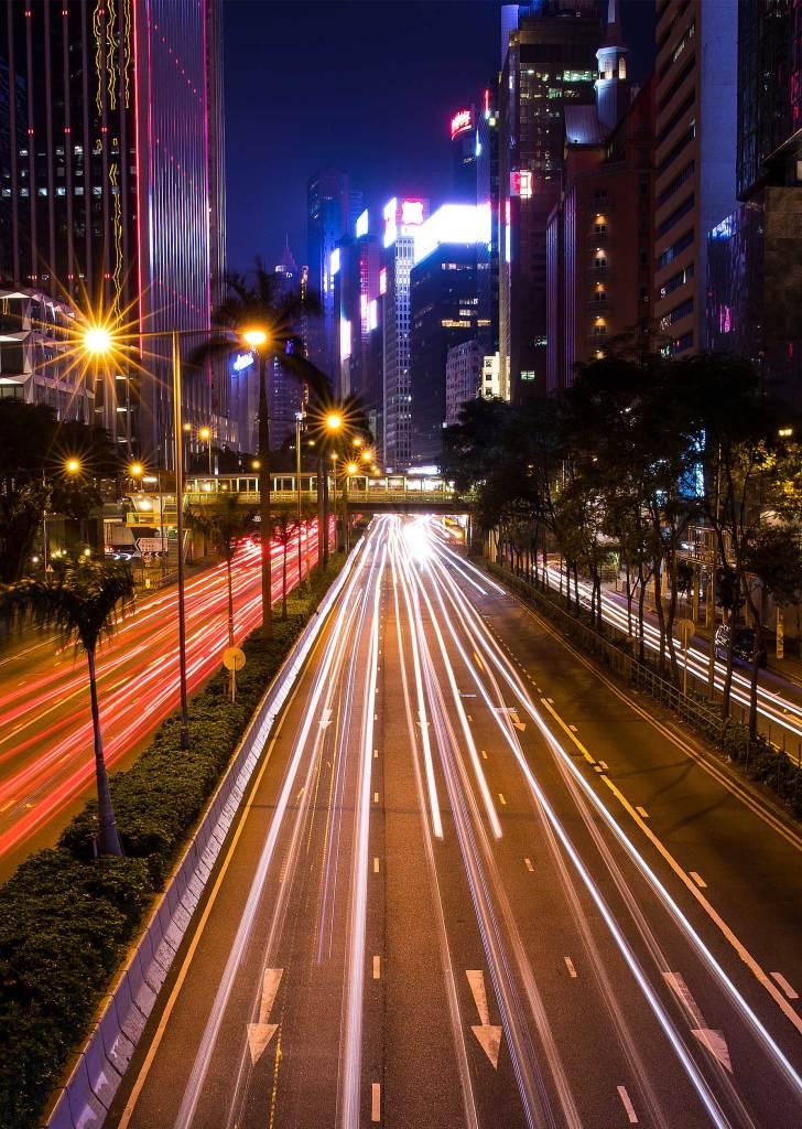 Long exposure photograph of a road in Hong Kong at night