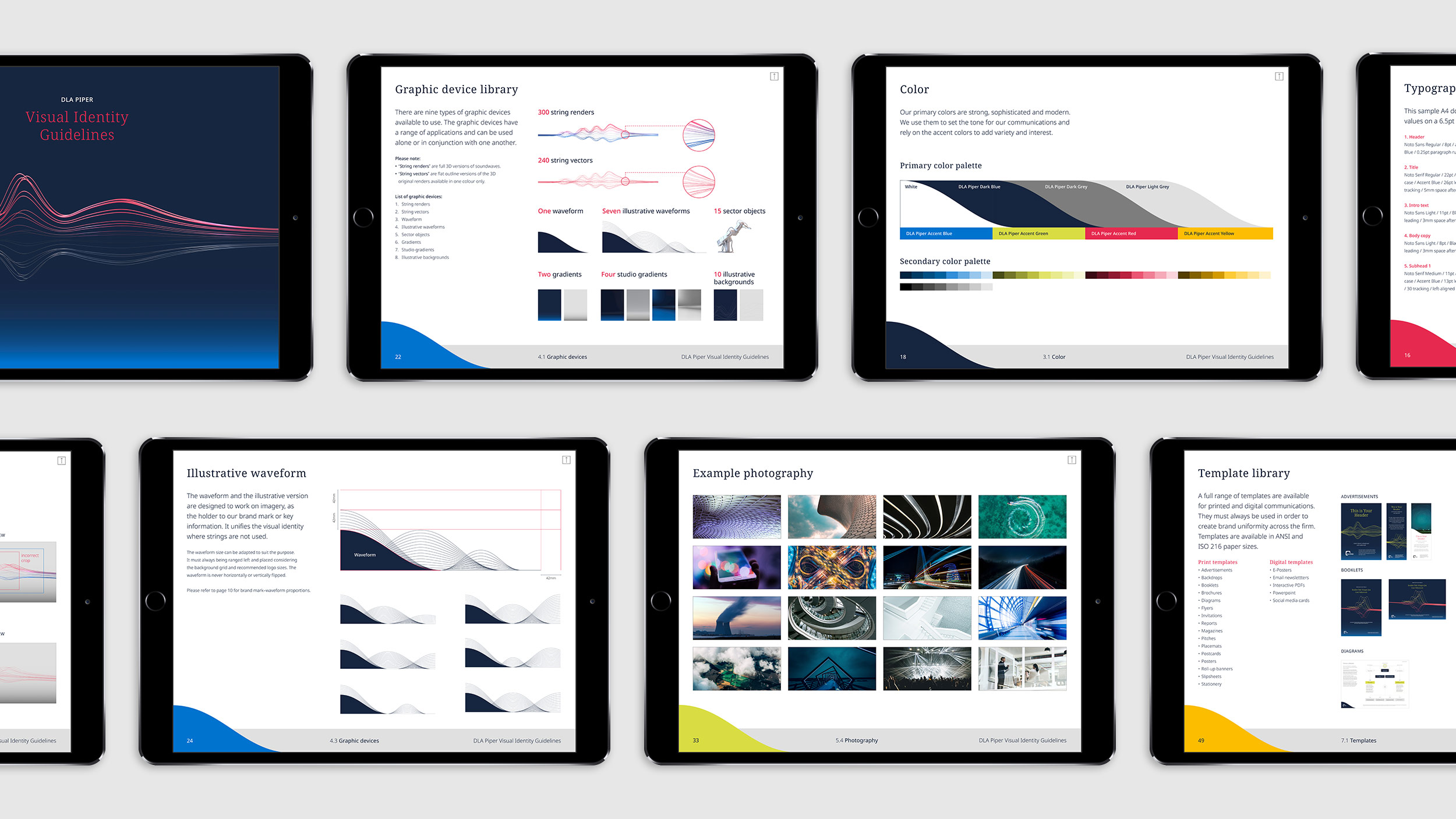 DLA Piper's brand guidelines displayed on ipads
