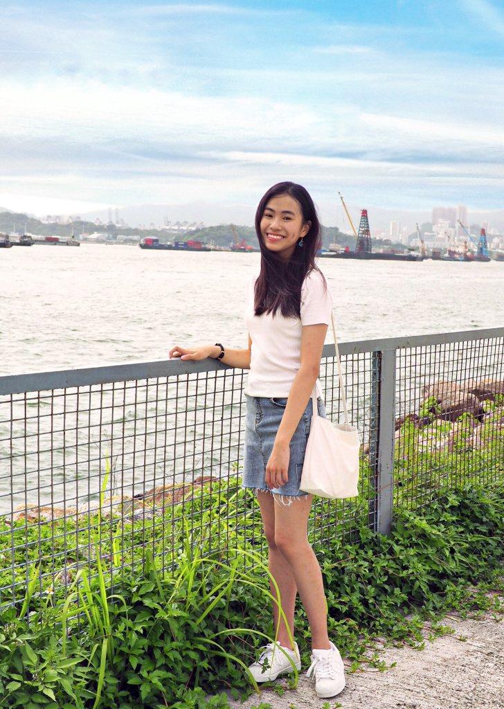 Nicole Liu in Hong Kong overlooking the water.