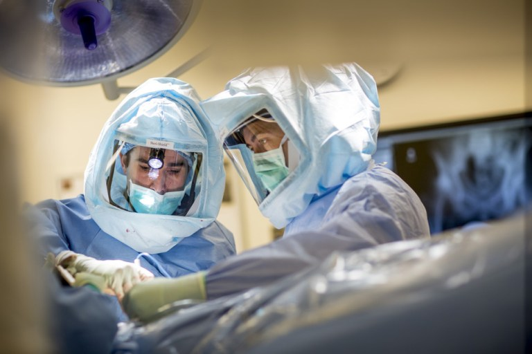 From the article: Dr. Wayne Moschetti, left, and his team, including resident Matt Sabatino, right, perform a total hip replacement in the operating room at Dartmouth-Hitchcock in New Hampshire. A new study has found that doctors who specialize in a single procedure may provide the best odds for a successful operation. PHOTO: DARTMOUTH-HITCHCOCK/MARK WASHBURN