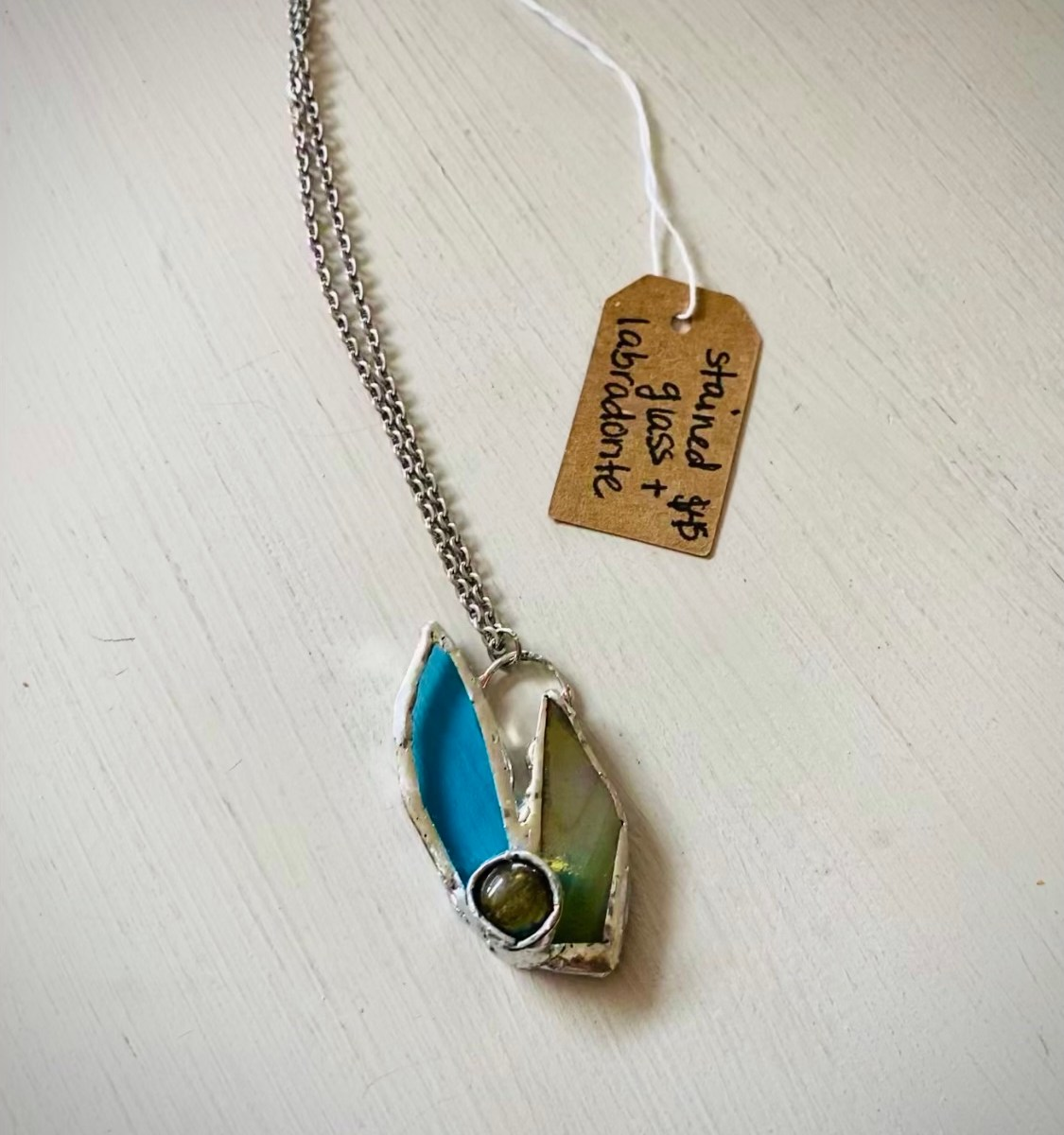 stained glass and labradorite necklace