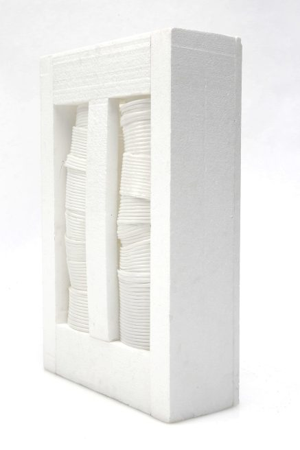 "Regina Viqueira Rossi, ""Window,"" Recycled styrofoam, drinking straws, plaster, cardboard, battery operated light  -- $225"