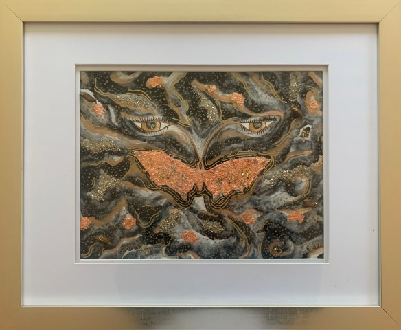 """Taylor Piscopo, """"Butterfly Caught,"""" Watercolor, glitter, copper leaf, ink, crystals, 11"""" x 14"""" -- $150 (framed 16"""" x 20"""")"""