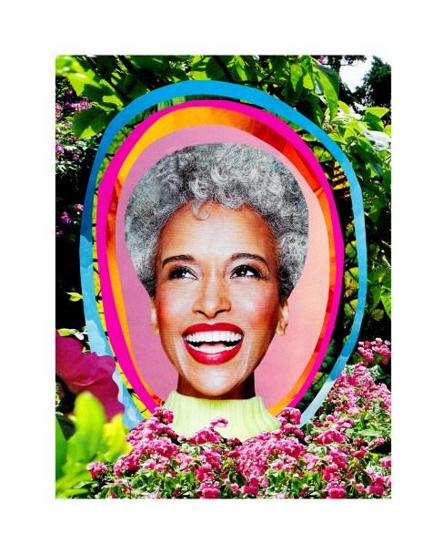 """Kelly D. Villalba, """"Judy in Bloom,"""" 2021, Digital collage print, 11"""" x 14"""" -- $100.00 (framed)"""