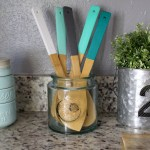DIY Painted Kitchen Utensils for splash of color