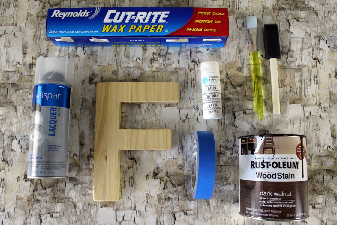 Supplies to create your own color block letters.