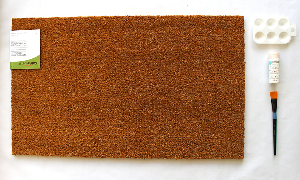 Supplies for a DIY Painted Fall Doormat