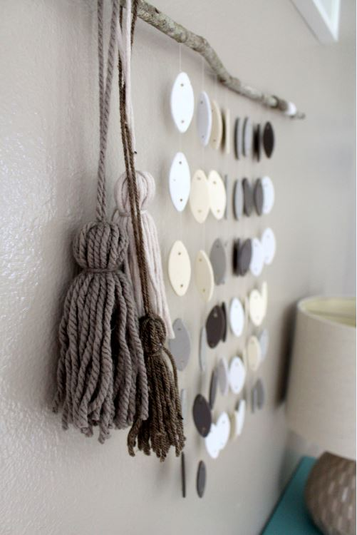 Creating yarn tassels for a neutral colored wall hanging