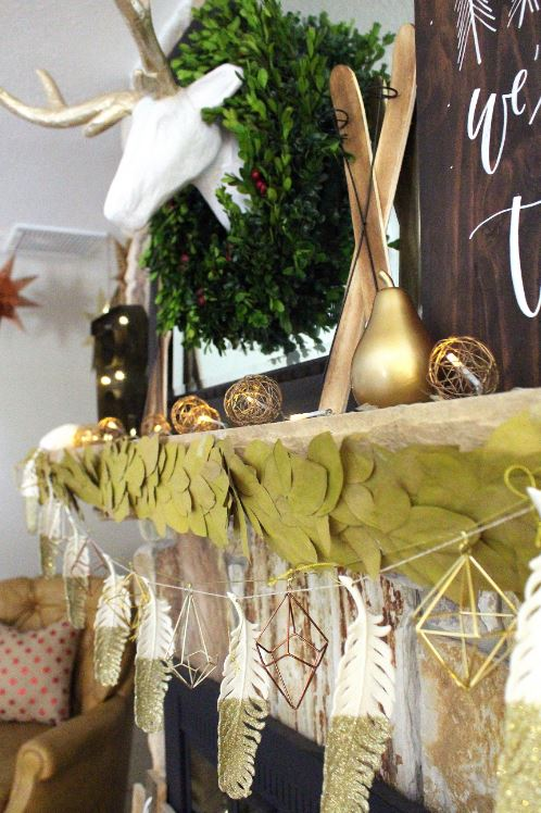 Bay leaf, geometric, and gold glittered feather garland.