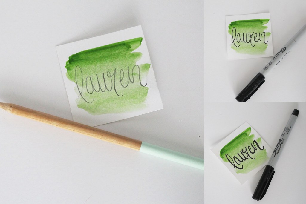 Create calligraphy by handlettering with a pencil and a sharpie.