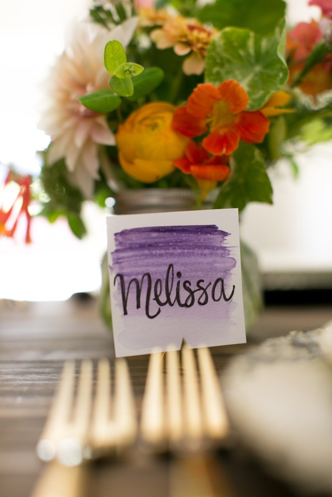 Ombre Place Cards for a Summer Floral Party