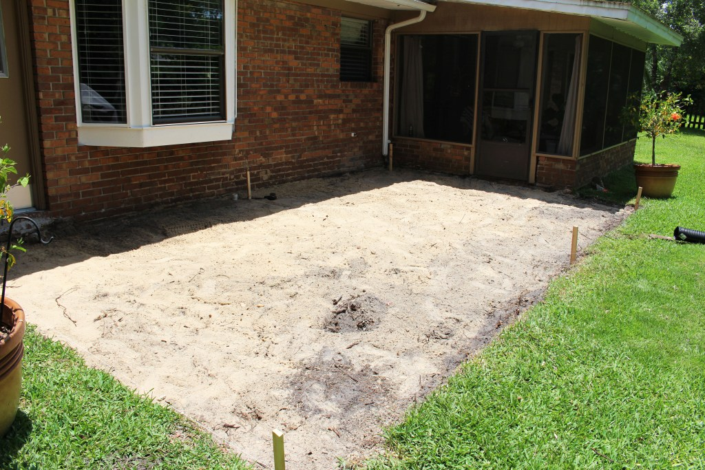 Leveling the area for a new patio