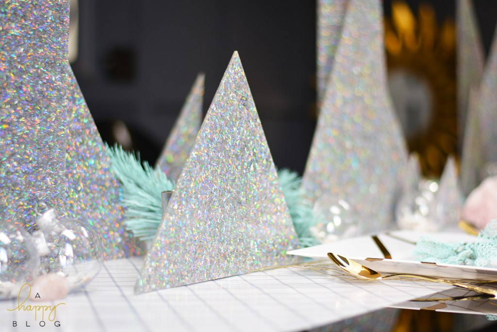 Create your own glitter trees as a centerpiece - Within the Grove