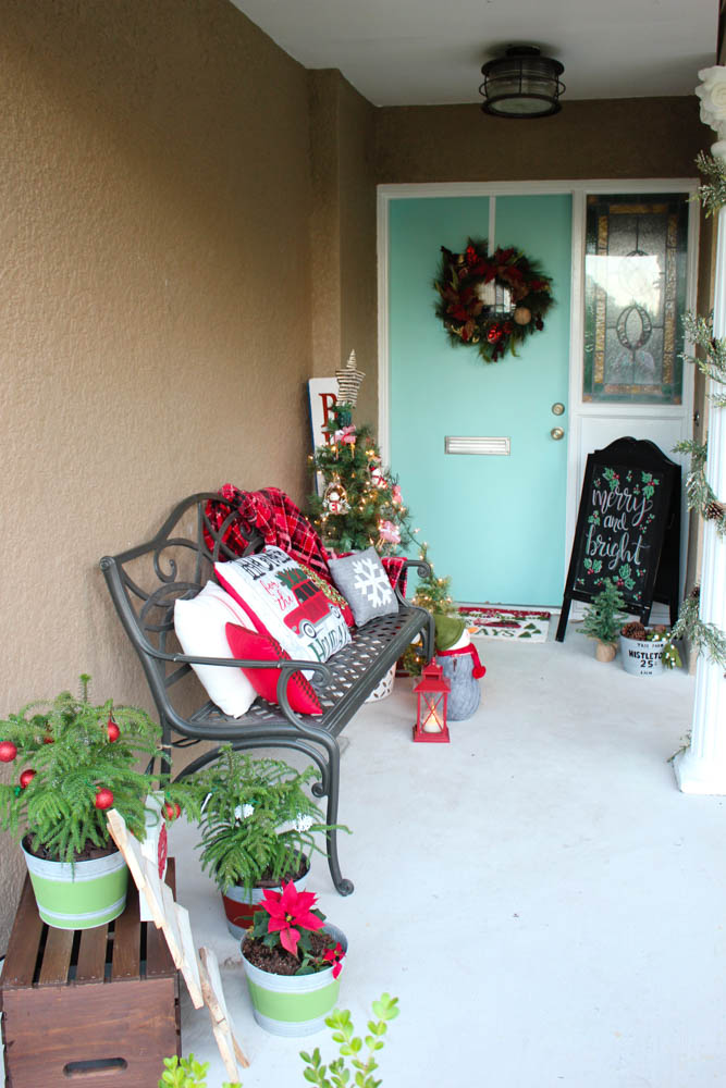 Front porch Christmas decorations. - Within the Grove
