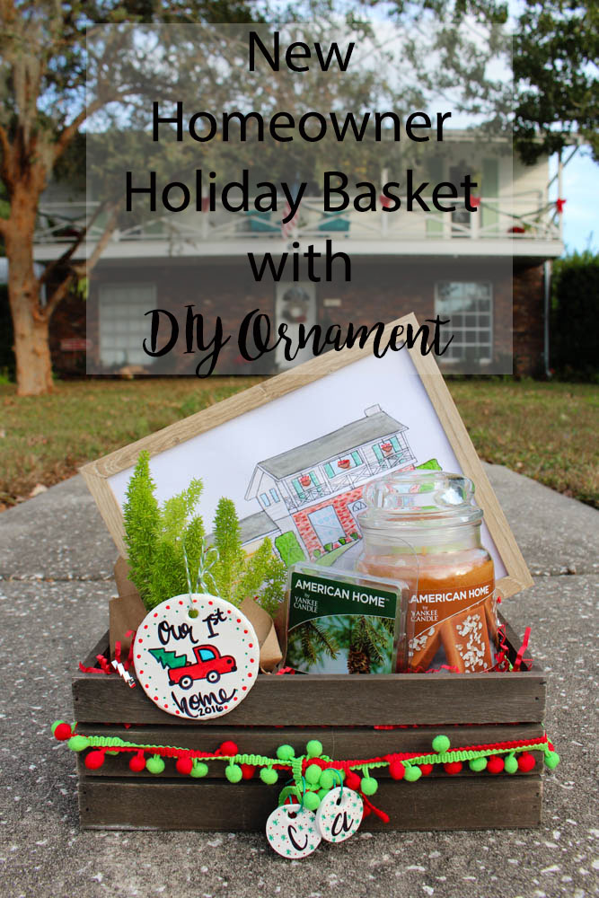 New homeowner basket with DIY ornament