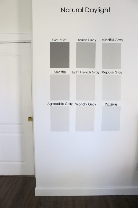 ... The Paint Colors With Natural Daylight, At Night With Lamps On, And  With Just An Overhead Light On. Hereu0027s What Happened With The Gray Paint  Swatches In ...