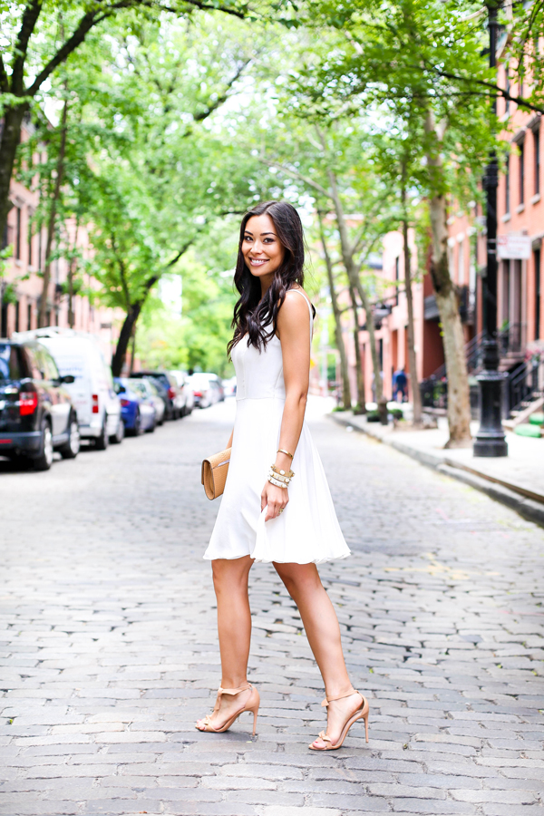 White silk dress with nude heels