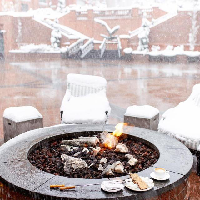 Its a snowy Friday evening roasting smores in the beautifulhellip