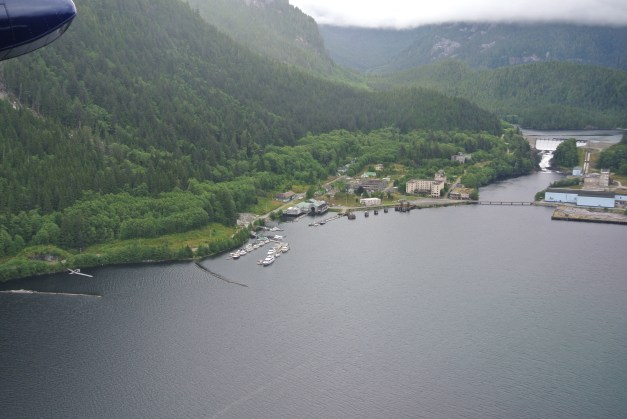 An aerial view of what is left of the main Ocean Falls townsite