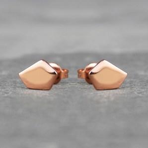 Pentagon Stud Earrings in 18ct Rose Gold Vermeil £22.75
