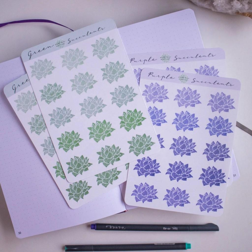 green purple succulents sticker sheets