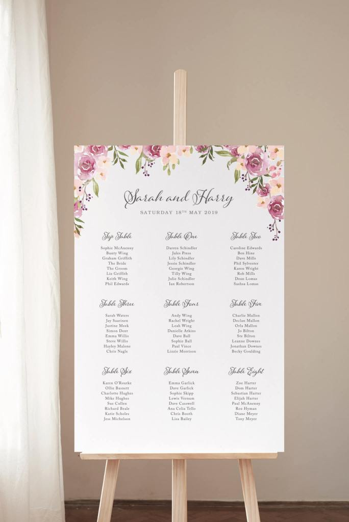 Blossom and Roses Table Plan