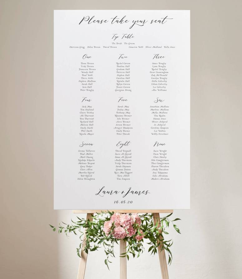 Calligraphy Seating or table Plan